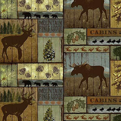 Mountain Pines & Lodge Fleece Fabric - 60