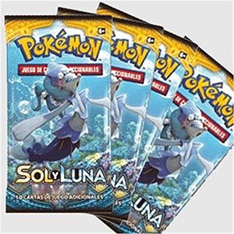 SOBRE CARTAS POKEMON SOL Y LUNA (PACK 4 SOBRES): Amazon.es ...