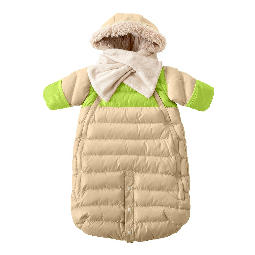 7AM Enfant Doudoune One piece Infant Snowsuit Bunting, Beige/Neon Lime, Small 7 A.M. Enfant DD100S-BE/NL