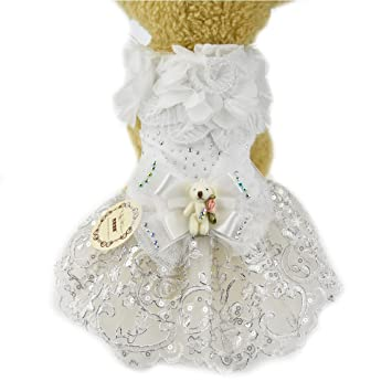 Vestido de lujo para perro o cachorro, diseño de flores, color blanco, con