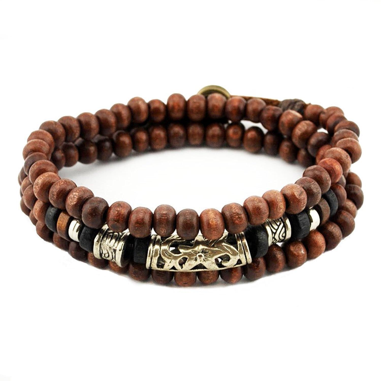 PopJ Vintage Multi Strand Wooden Bead Bracelet Tibeten Handmade Bangle Cuff