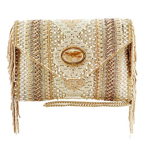 with Gemstone Handbag Beach MARY Jaspar Genuine Newport Raw Crossbody Beaded Silk FRANCES Pwfx0q8w