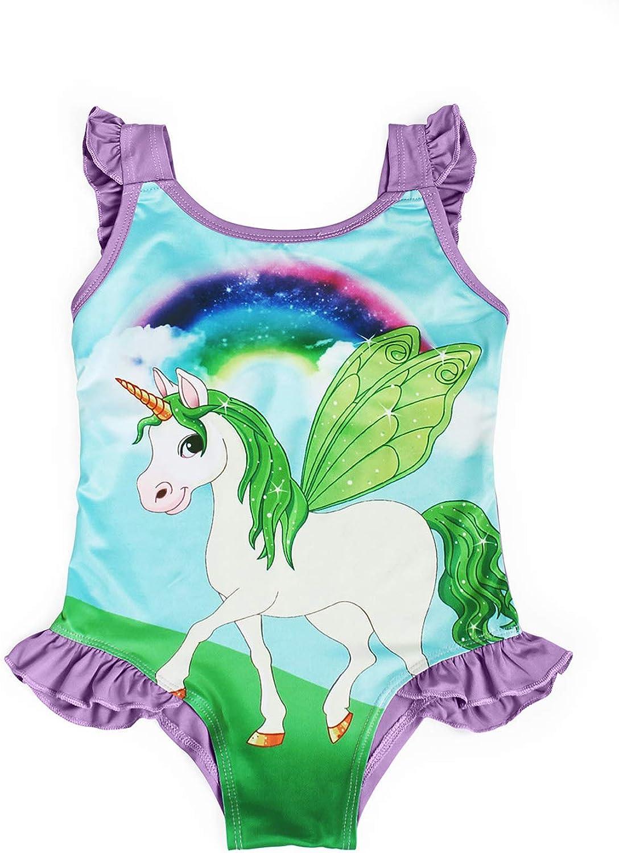 WonderBabe Unicorn Swimming Costume Girls Swimsuit Children Summer Holiday Beachwear Bathing Suit