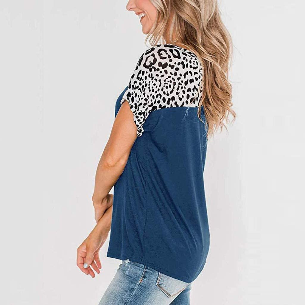 Berimaterry Damen Oberteile Leopard Print T-Shirt Bluse Sommer Rundhals Kurzarm Tshirt Tops Mode Patchwork Elegant Tunika Shirts