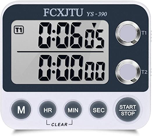 Auto-Off Memory for Cooking Baking Sports Games Office. Count Up,Sound//Silence Adjustable,Support /& Magnetic Countdown Timer 99H 59M 59S Digital Kitchen Timer