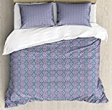 Arabic Duvet Cover Set King Size by Lunarable, Traditional Arabesque Moorish Pattern with Nature Inspired Design Elements, Decorative 3 Piece Bedding Set with 2 Pillow Shams, Blue Red Turquoise