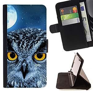 BullDog Case - FOR/Samsung Galaxy S3 Mini I8190Samsung Galaxy S3 Mini I8190 / - / owl moon night eyes bird smart school /- Monedero de cuero de la PU Llevar cubierta de la caja con el ID Credit Card Slots Flip funda de cuer