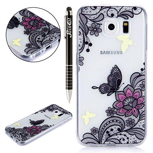 Funda Samsung Galaxy S6 edge,SainCat Moda Alta Calidad suave de TPU Silicona Suave Funda Carcasa Caso Parachoques Diseño pintado Patrón para CarcasasTPU Silicona Flexible Candy Colors Ultra Delgado Li Mariposa de encaje