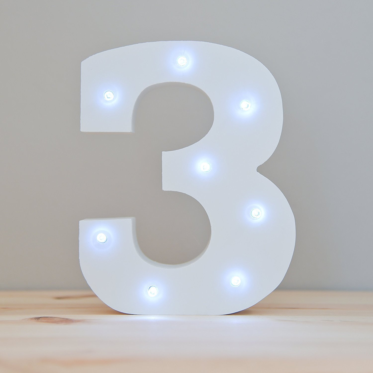 WONFAST Decorative Light Up Wooden Number Letters, White Wood Marquee LED Number Lights Sign Party Wedding Decor Battery Operated Number (3)