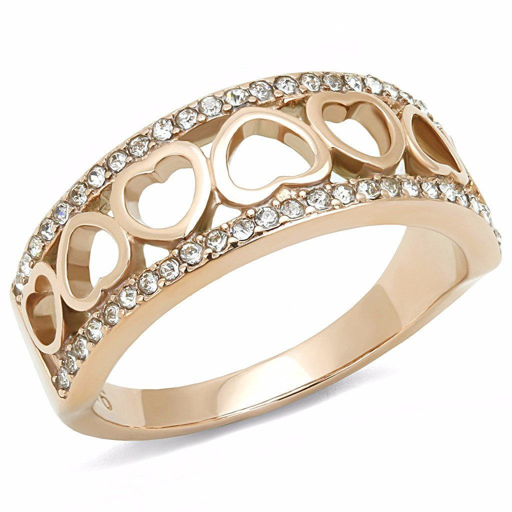 Top Grade Clear Crystal Heart Link Rose Gold IP Stainless Steel Band - Size 5