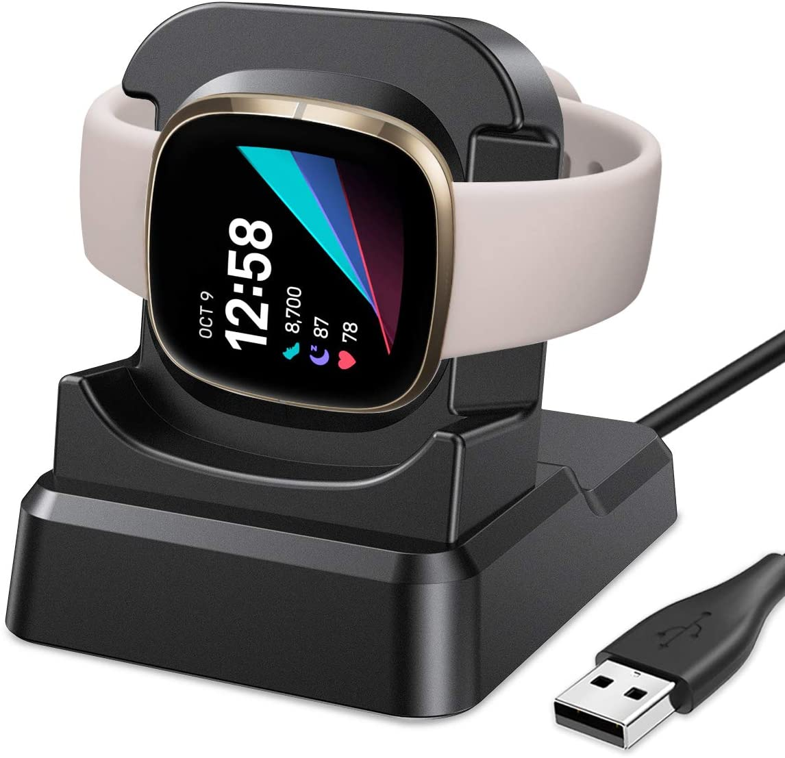 EZCO Charger Dock Compatible with Fitbit Sense/Versa 3, USB Replacement Charging Cable Stand Station Base Accessories with 4.2ft Cable for Sense & Versa 3 Smart Watch