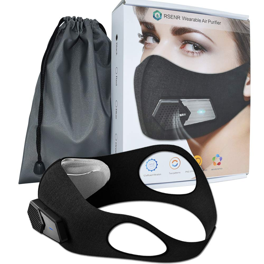 Fresh Air Supply Smart Electric Mask Air Purifying Mask Anti Pollution Mask N95 for Exhaust Gas, Pollen Allergy, PM2.5, Running, Cycling and Outdoor Activities