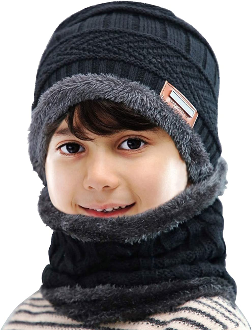 Youth size winter soft Stretchy cap with matching scarf