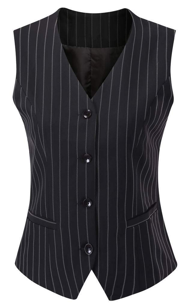 Vocni Women's Fully Lined 4 Button V-Neck Economy Dressy Suit Vest Waistcoat,Black Pinstripe_1,US XS+ (Fit Bust 31.9''-33.9'')-Tag L