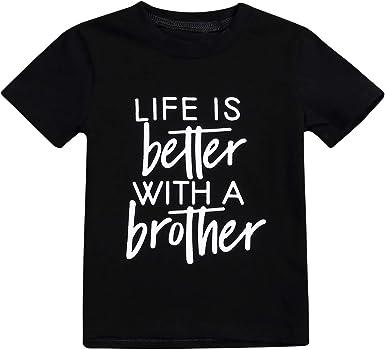 Gray Kids Baby Boy Girl Brother Sister Matching Summer Cotton Tops T-shirt Tee