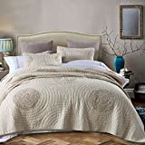 "DOUH Luxury Embroidery Aunual Rings Pattern Quilt Set with Two Matching Shams 100% Cotton Reversible Handmade 3 Pieces Queen Size 90""x98"""