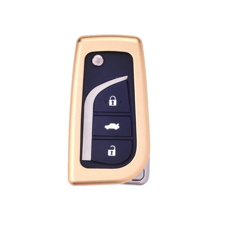 [ M。Jvisun ]車キーレスエントリキーケースカバーFobスキンfor Toyota Levin Camry Highlanderカローラrav4 Fortuner折り畳みキー、航空機アルミ製保護シェル本革キーチェーン付き ゴールド M.JVISUN-KEYCASE-FT-ZD B01M8HE436  ゴールド