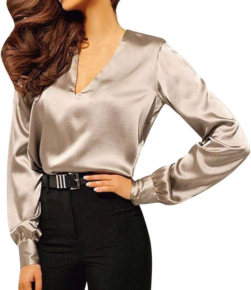 TiaQ - Camisa de Noche para Mujer, de Manga Larga, Elegante, en V, para Camisa, Blusa, Color Liso Caqui XL: Amazon.es: Ropa y accesorios