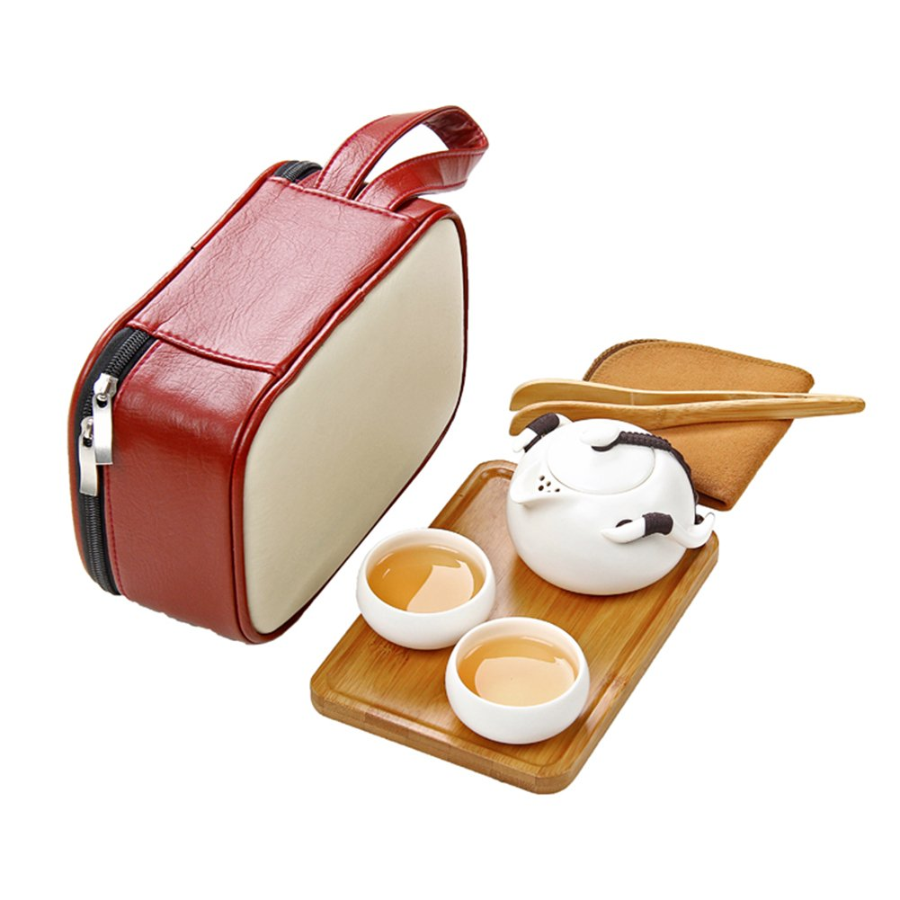 Kungfu Tea Set Handmade China - Japanese Vintage Design Portable Travel Cermet Teacup And Storage Bag