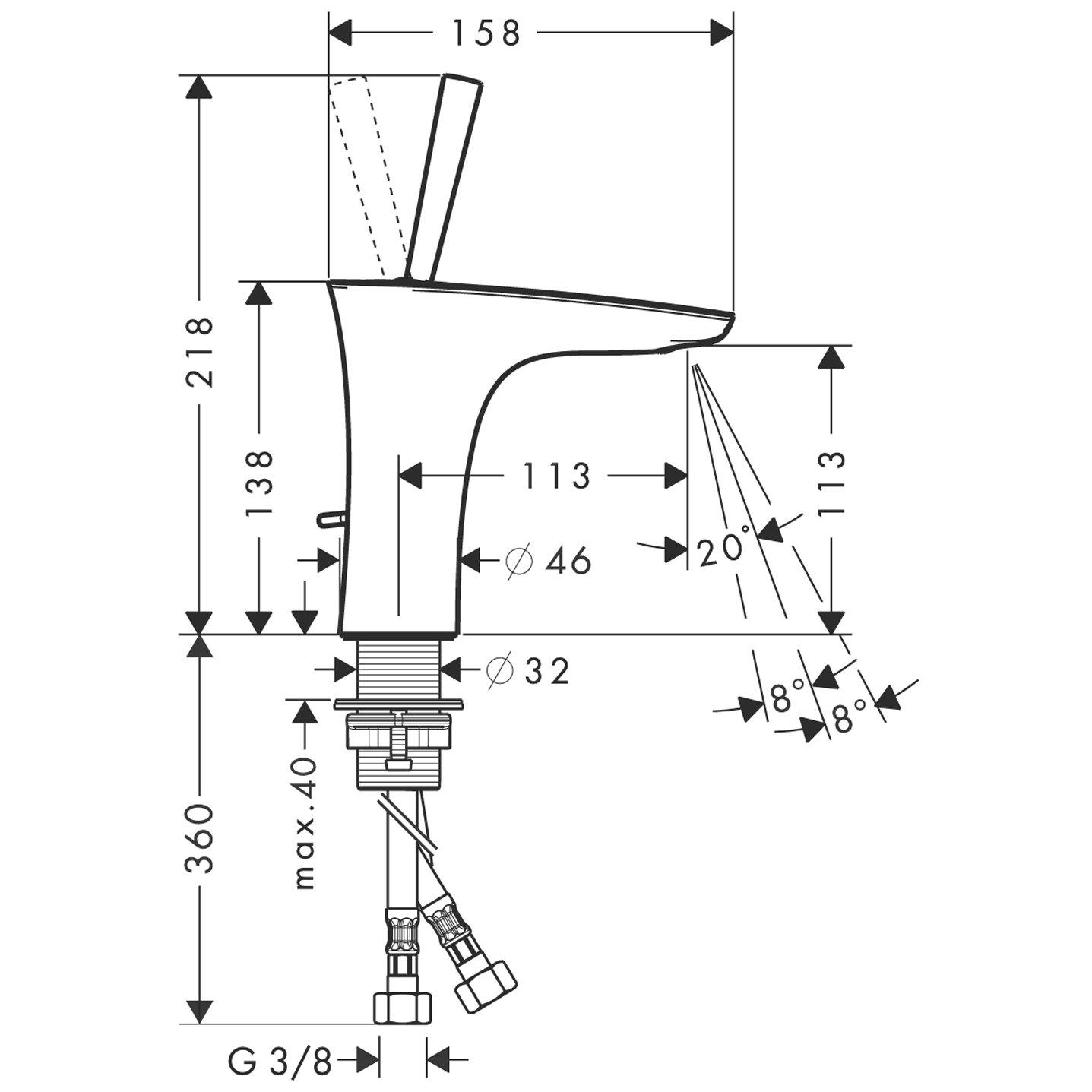 Hansgrohe Mitigeur 15074400 de Lavabo de Salle de Bain Design PuraVida 110 Poign/ée Joystick avec Garniture de Vidage Tirette et Mousseur Orientable Blanc//Chrome