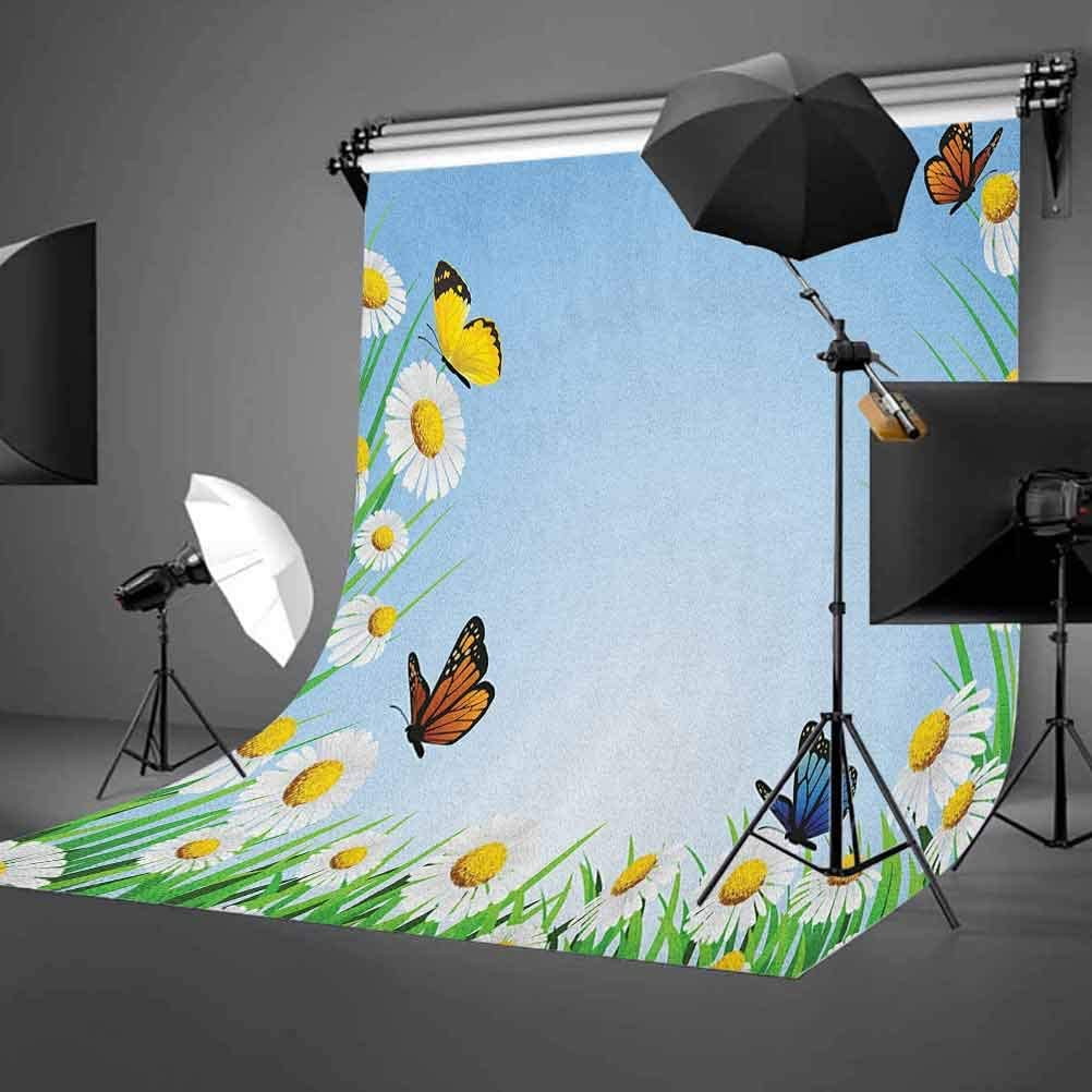 9x16 FT Butterfly Vinyl Photography Backdrop,Daisies with Butterflies on Scenic Sky Chamomiles Animal Nature Happiness Art Background for Baby Birthday Party Wedding Studio Props Photography