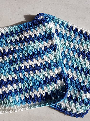 Handmade crochet washcloths, dishcloths, rags, wipes or pot holder 100% cotton set of 2