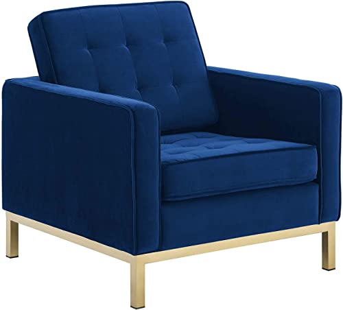 Modway Loft Tufted Button Performance Velvet Upholstered Accent Lounge Arm Chair - a good cheap living room chair