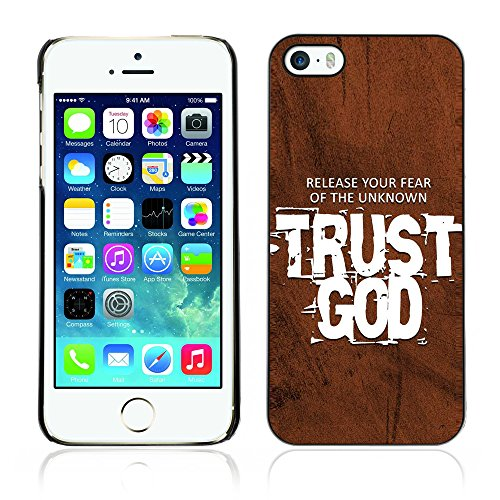 DREAMCASE Citation de Bible Coque de Protection Image Rigide Etui solide Housse T¨¦l¨¦phone Case Pour APPLE IPHONE 5 / 5S - TRUST GOD - RELEASE YOUR FEAR