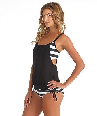 a2dc1f4d56186 Ibeauti Women s Layered Striped Blouson Tankini Swimsuit Padded Sporty  Swimwear (L