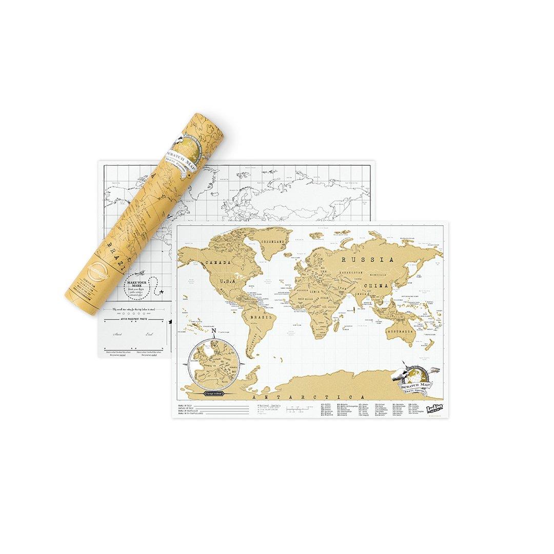Scratch Map Travel Map personalisiertes Reise-Poster im Weltformat der Rubbelkarten hergestellt in Gro/ßbritannien