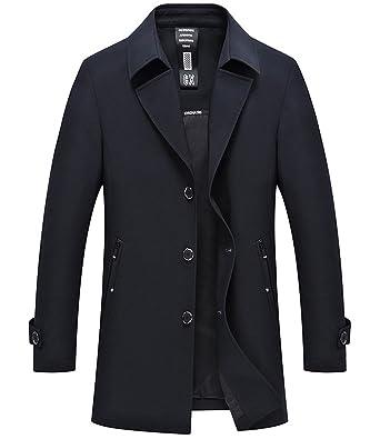 805b2dddc171 Herren Mantel Trenchcoat Jacke Übergangsjacke Sweatjacke Überzieher Lange  Jacken Kurzmantel Einreihig Jack Anzug Oberbekleidung (Dunkelblau
