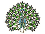 Alilang Elegant Golden Tone Blooming Large emerald Colored Peacock Crystal Rhinestone Pin Brooch