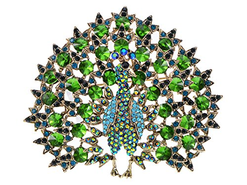Alilang Elegant Golden Tone Blooming Large emerald Colored Peacock Crystal Rhinestone Pin Brooch