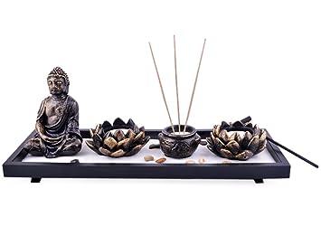Feng Shui Garten Deko Skulptur Buddha Räucherstäbchenhalter Lotus ROCKS  SAND Plus Gratis Mxsabrina Mit Roter Schnur