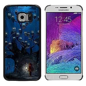 Caucho caso de Shell duro de la cubierta de accesorios de protección BY RAYDREAMMM - Samsung Galaxy S6 EDGE SM-G925 - Owl Blue Night Watercolor