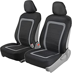 BDK Advanced Performance Car Seat Covers - Instant Install Sideless Front Seat Protector Pair - Modern Honeycomb Accent (Black/Gray)