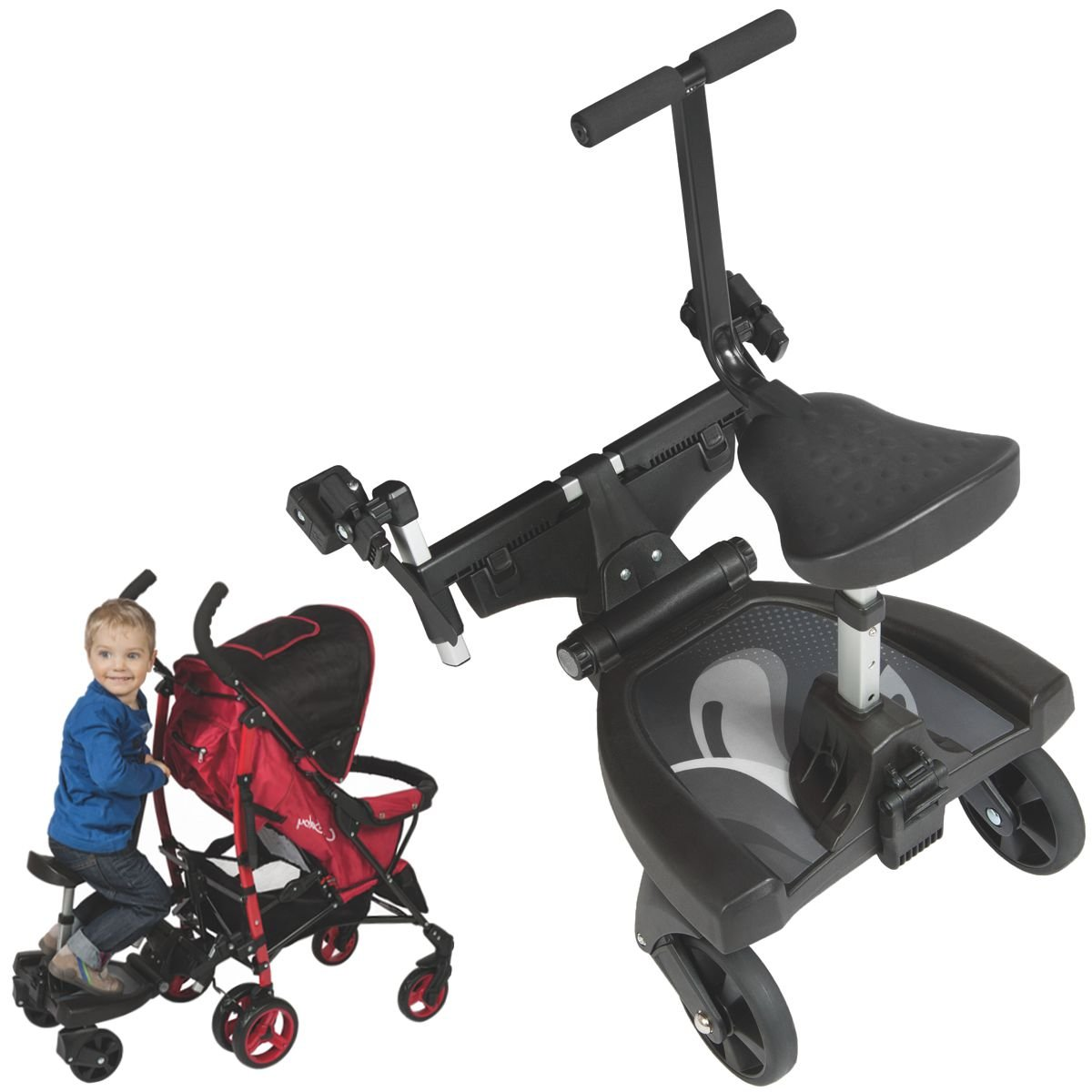 Buggyboard Trittbrett Mitfahrbrett Rollbrett + Zusatzsitz (Erweiterung) für Kinderwagen Buggy Jogger bis 20 Kg Stimo24