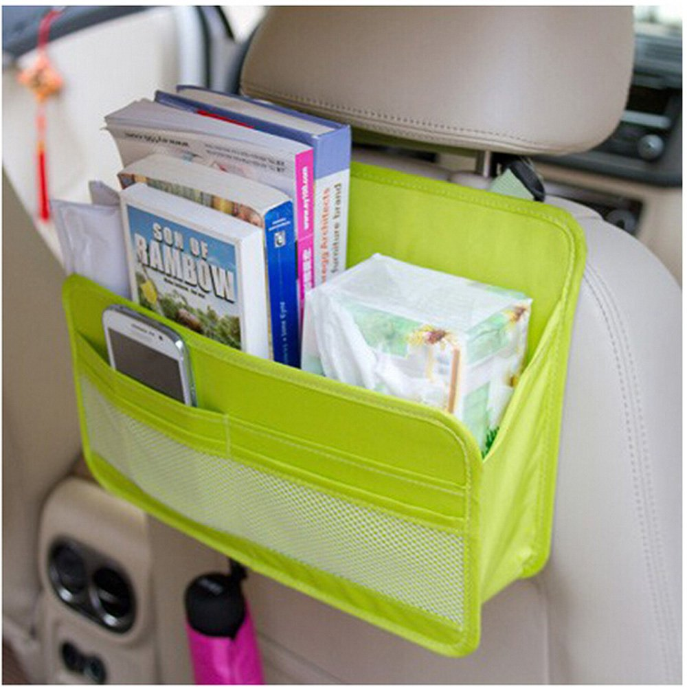 Microtimes Auto Car Back Seat Cover Protector and Storage Bag Wall Mount Oxford fabric File Organizer Hanging Folder Document Bag Magazine Storage (green)