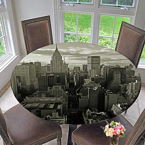 (PINAFORE HOME Elasticized Table Cover Midtown Manhattan, New York City, USA Machine Washable 67