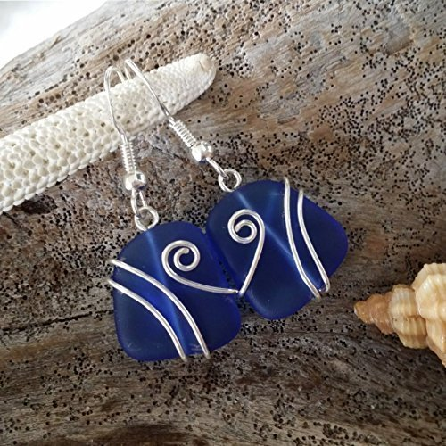 Handmade jewelry in Hawaii,wire wrapped cobalt blue sea glass earrings, sterling silver hooks, Hawaiian Gift, FREE gift wrap, FREE gift message, FREE shipping Handmade Wire Wrapped Earrings