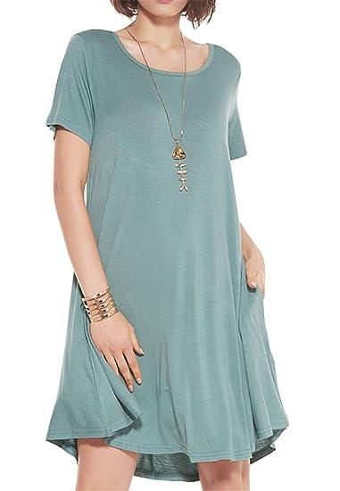 JollieLovin Women's Pockets Casual Swing Loose T-Shirt Dress (Greyish Green, M)