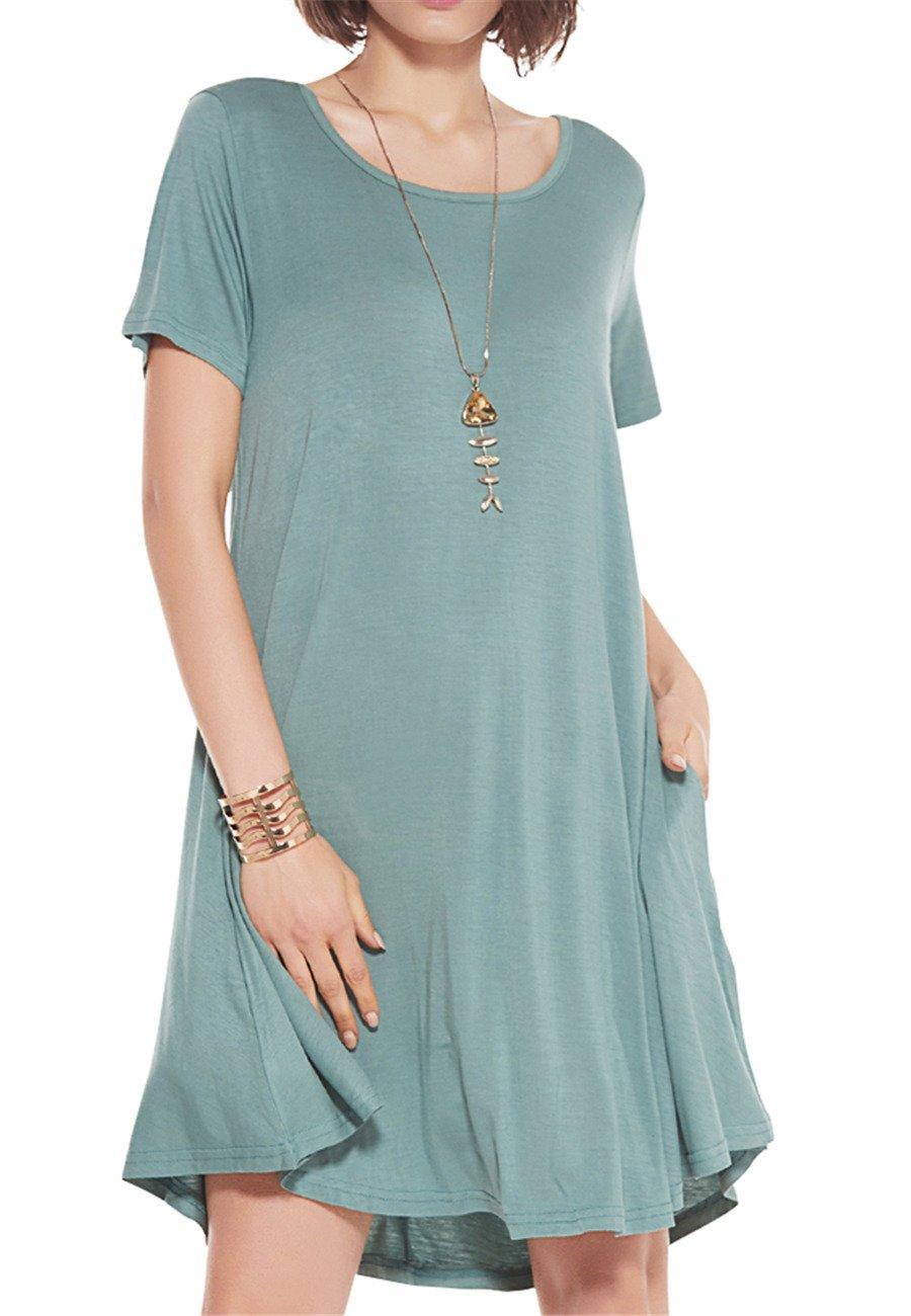 JollieLovin Women's Pockets Casual Swing Loose T-Shirt Dress (Greyish Green, 2X)