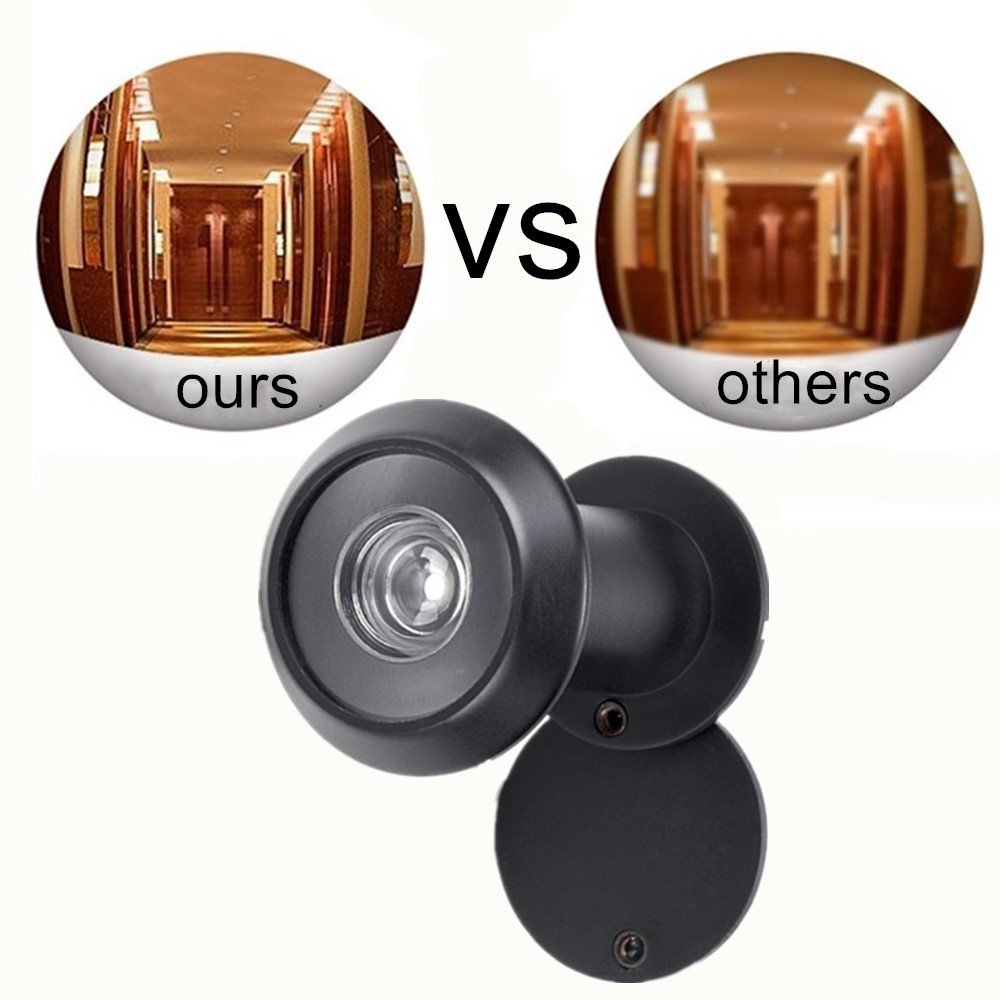 Door Viewer Peephole Black Solid Brass 220-degree Door Viewer with Heavy Duty Rotating Privacy Cover for 1-3//8 to 2-1//6 Doors for Home Office Hotel
