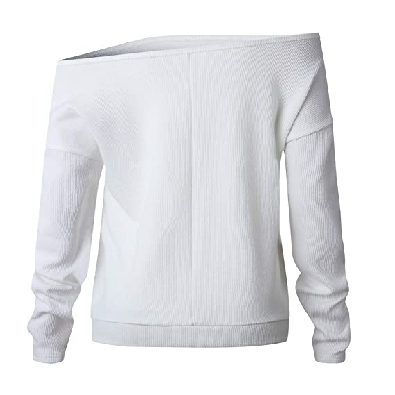 Amazon.com: Big Promotion! Toimoth Fashion Women Long Sleeve Off Shoulder Knitted T-Shirt Tops Sweater Blouse(White,XL): Clothing