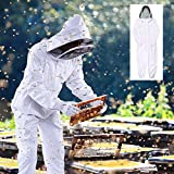 BeeKeeping Suit Cotton White Large Complete,Full Body(All in One) Fencing Veil Bee Proof Seals,Size L