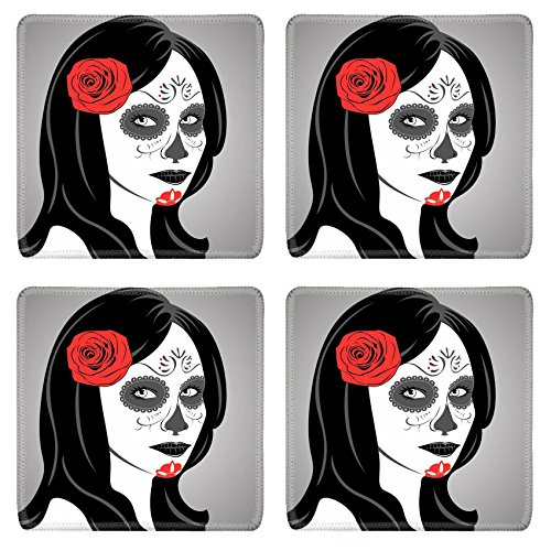 Liili Natural Rubber Square Coasters IMAGE ID: 22631817 Vector of Sugar Skull Lady with face paint for Day of the Dead Dia de los (Mexican Halloween Face Paint)