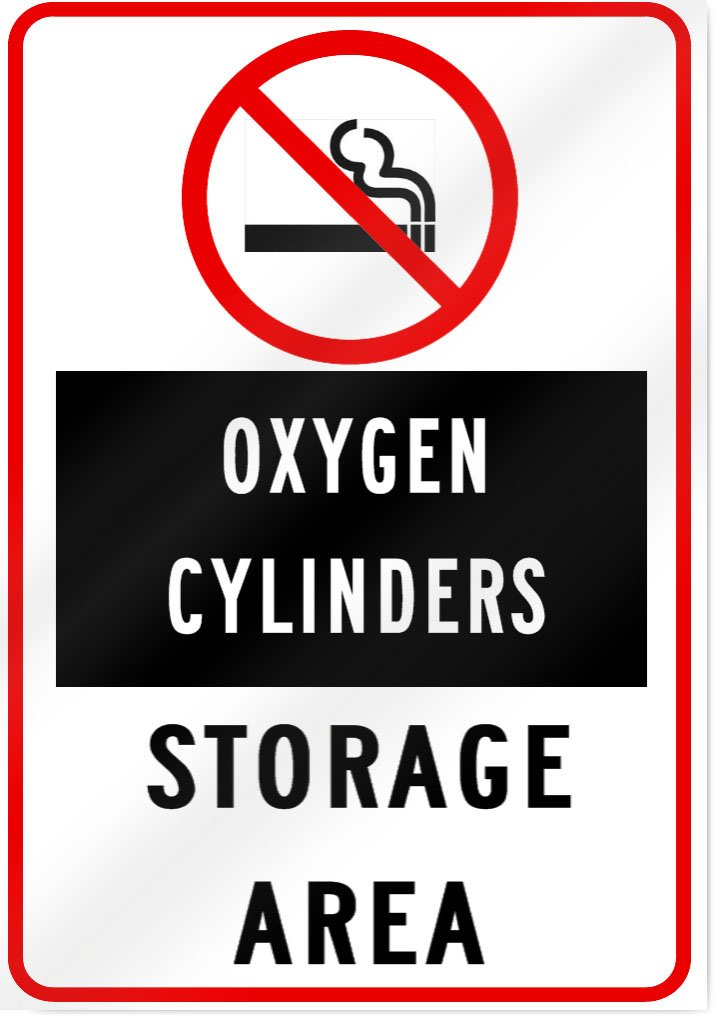 No Smoking Oxygen Cylinder Storage Area Sign - 10' wide x 14' tall SignsToYou.com