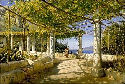 Posterlounge Cuadro de Madera 130 x 90 cm: Pergola on Capri Overlooking The Vesuvius de Peder Mørk Mønsted/akg-Images: Peder Mørk Mønsted: Amazon.es: Hogar