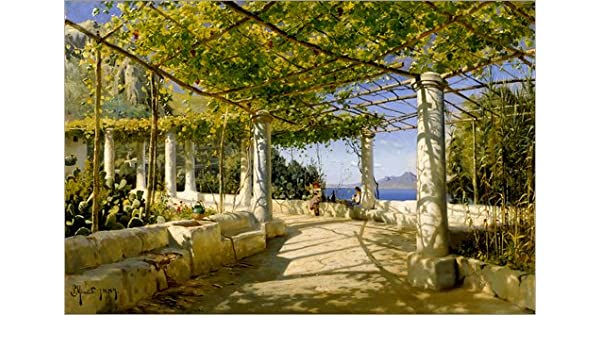 Lienzo 130 x 90 cm: Pergola on Capri overlooking the Vesuvius de ...