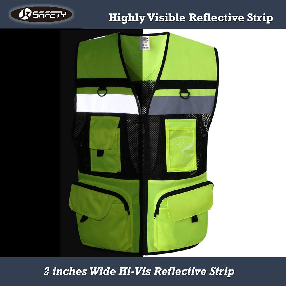 JKSafety 10 Pockets Class 2 High Visible Reflective Safety Vest Zipper Front Large Back Pockets Breathable and Mesh Lining (X-Large, Yellow Black) by JKSafety (Image #7)